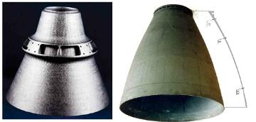 Fig1-CC nozzle extensions with integrated stiffener(left) and wall thickness variation (right)