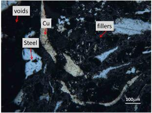 fig.4-optical microscopy images of as-polished surface of organic pad. the main constituents are labelled in the image